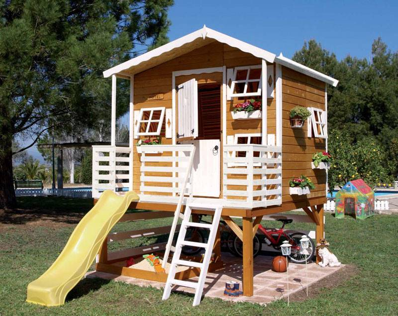Wood Outdoor Playhouses Girls Boys Green House