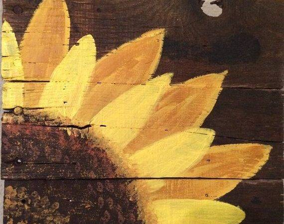 Wood Pallet Sign Hand Painted Sunflower Art Rustic