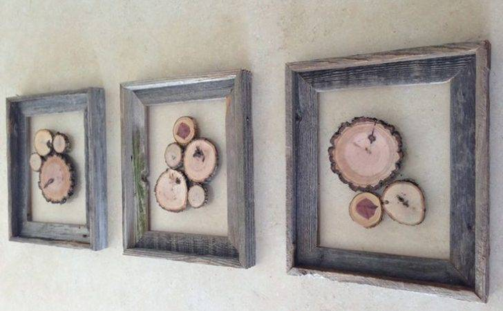 Wood Slice Art Wooded Cluster Nature Wall Hanging Rustic Barn
