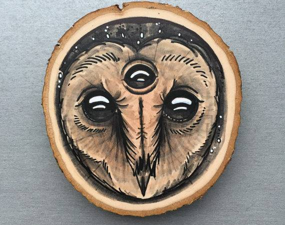 Wood Slice Original Drawing Barn Owl Third Eye