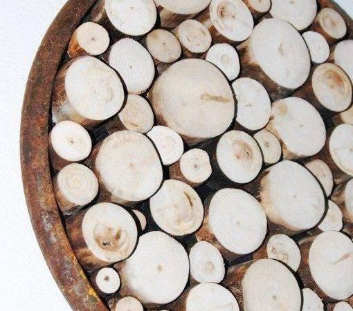 Wood Slice Wall Sculpture Rustic Art Tree Ring Metal
