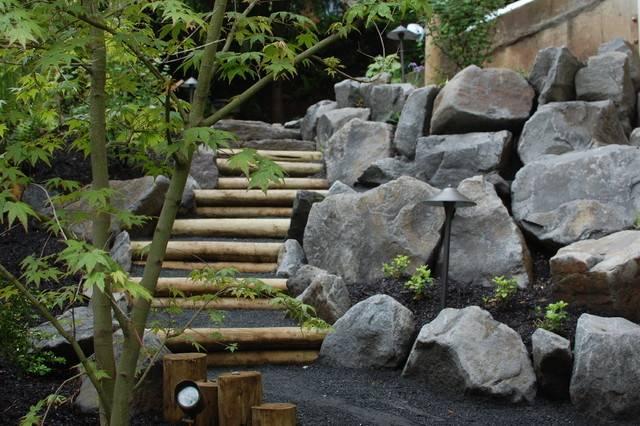 Wood Stone Steps Eclectic Landscape Portland
