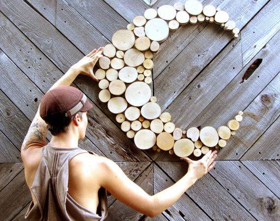 Wood Wall Art Hanging Circle Slices Home Decor Celestial