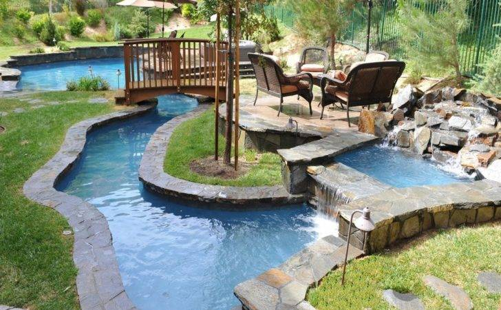 Wooden Bridge Ideas Backyard Lazy River Design