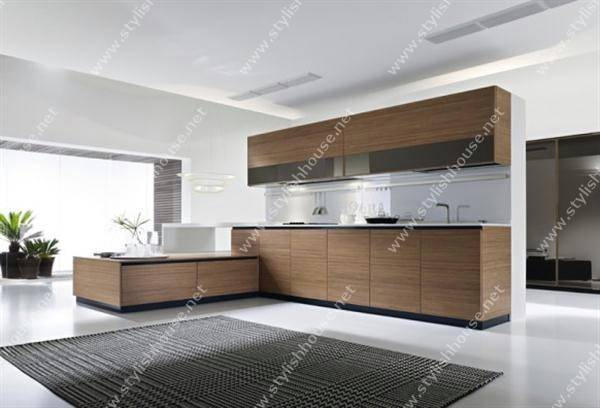 Wooden Finishing Modern Luxury Italian Kitchen Design