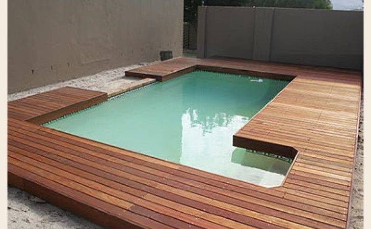 Wooden Ground Level Pool Deck Inground Shape