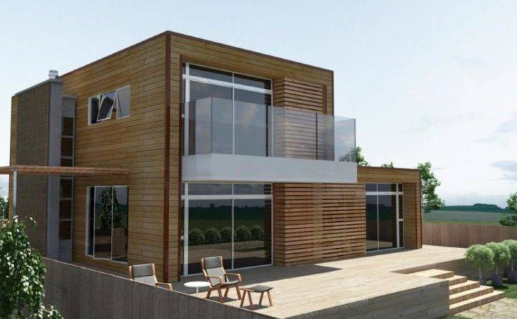 Wooden Hosue Design Modern Style Glass Fence Ideas Olpos