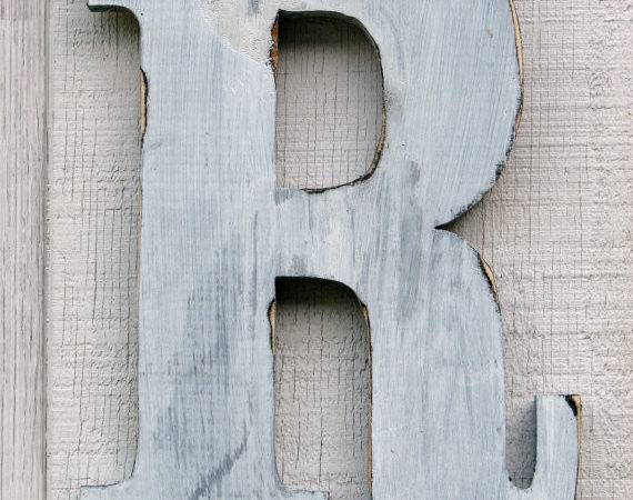 Wooden Letter Distressed Painted White Tall Wood Name Letters