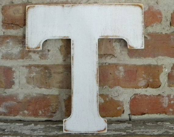 Wooden Letter Distressed White Classic Font All Letters
