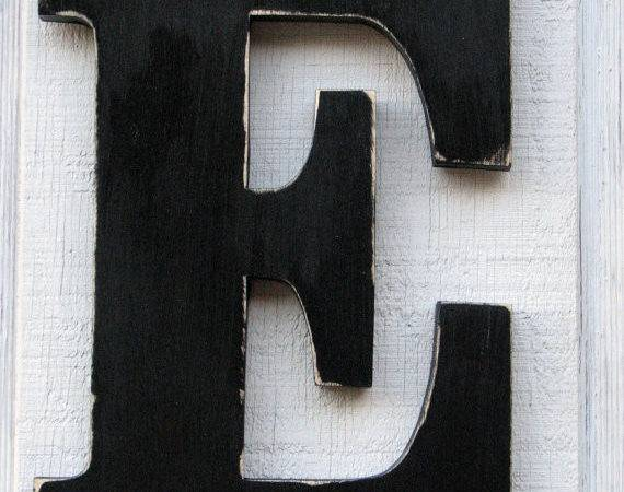 Wooden Letters Distressed Black Tall Wood Name