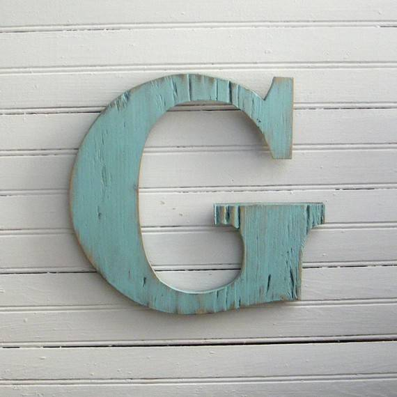 Wooden Letters Distressed Initial Sign Custom Color Letter Your