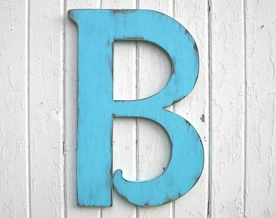 Wooden Letters Distressed Large Wedding Guest Book Blue Wall