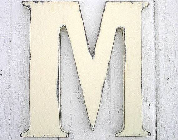 Wooden Letters Distressed Large Wedding Guestbook Antique White