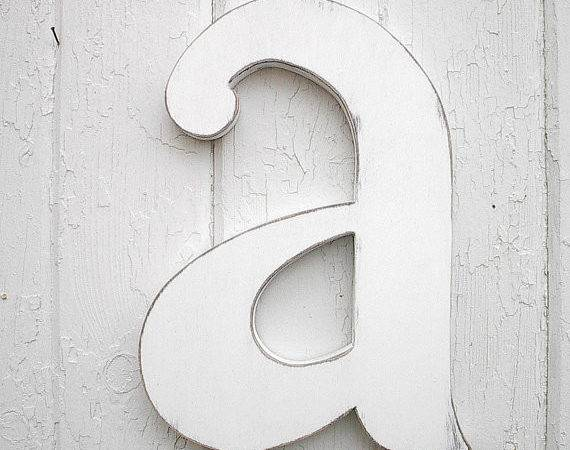 Wooden Letters Lowercase Distressed White Wood Initial Wall