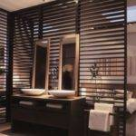 Wooden Partition Wall Between Bathroom Bedroom