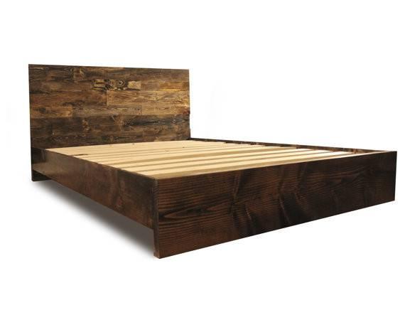 Wooden Platform Bed Frame Headboard Modern Contemporary