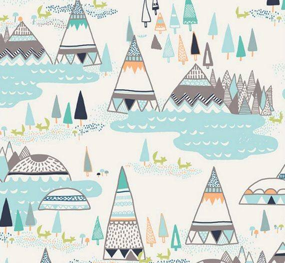 Woodland Pine Summer Teepees Fabric Yard Cotton