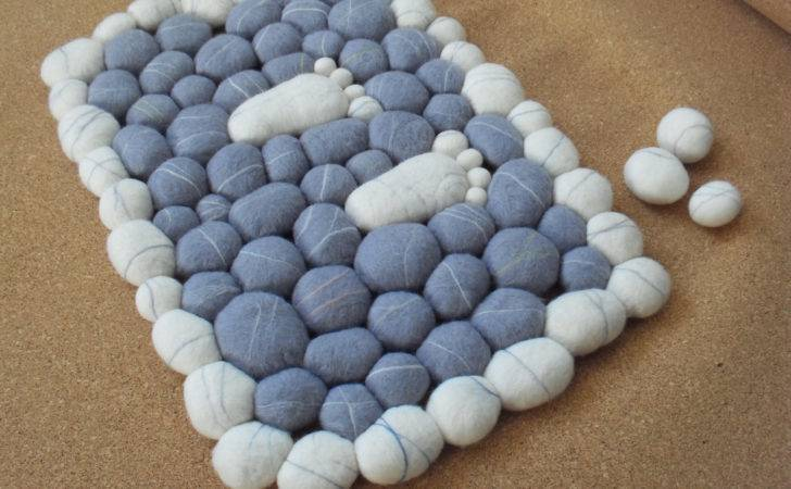 Wool Felt Stones Rug Carpet Home Decor