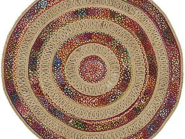 Woven Circle Jute Recycled Cotton Rug
