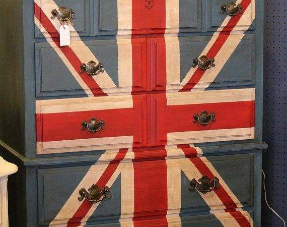 Wow Love Union Jack Dresser Lavanttehome Etsy