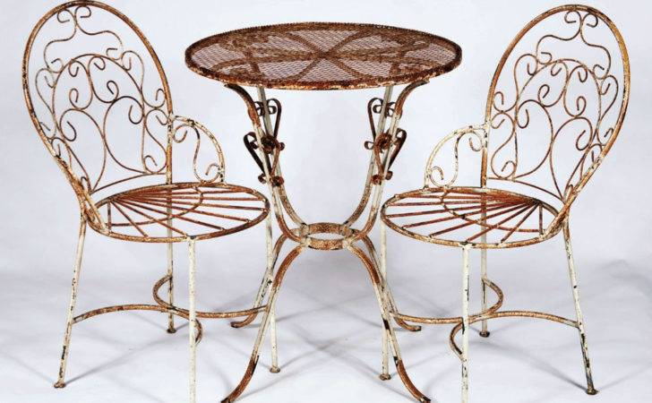Wrought Iron Ice Cream Chairs Table Set Metal Patio Furniture