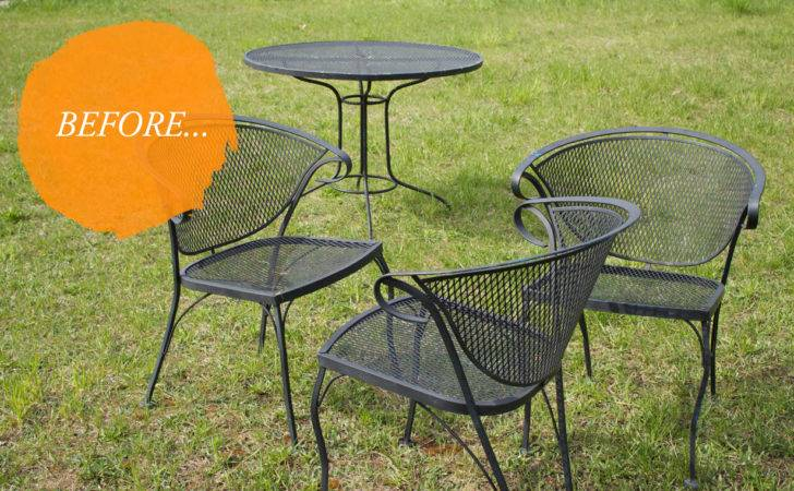Wrought Iron Patio Set Chairs Furniture Vintage