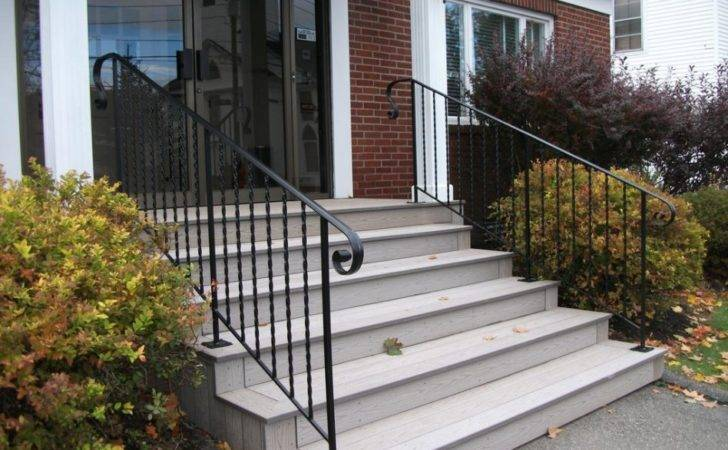Wrought Iron Stair Railings Exterior Staircase Including Black