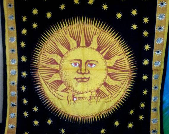 Yellow Black Sun Moon Tapestry Wall Hanging Bedspread