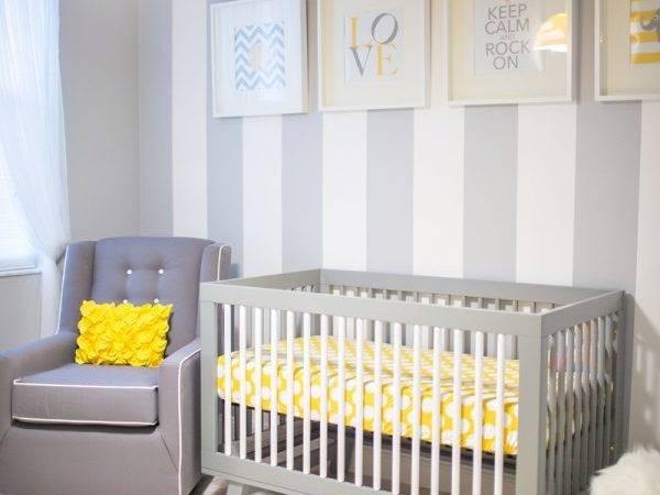 Yellow Gray Nursery Contemporary