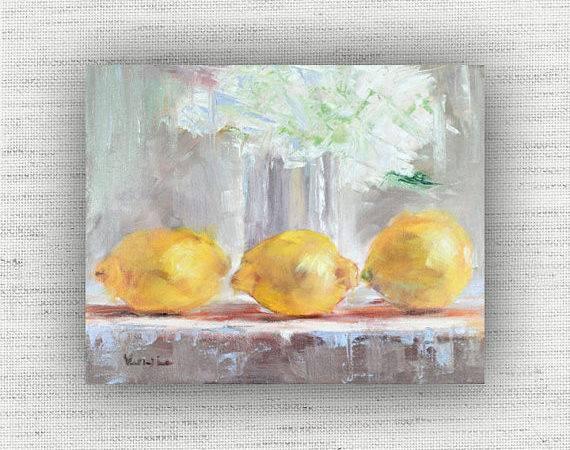 Yellow Kitchen Decor Art Print Lemon Home Wall