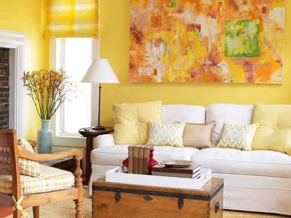 Yellow Living Rooms Room Walls