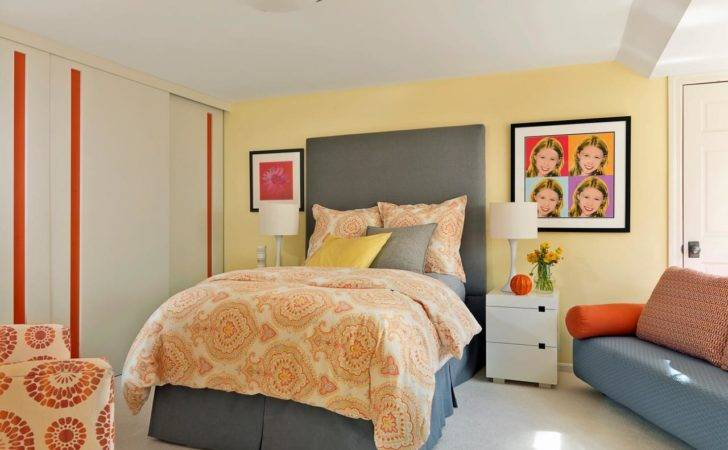 Yellow Orange Gray Teen Bedroom Girl Has