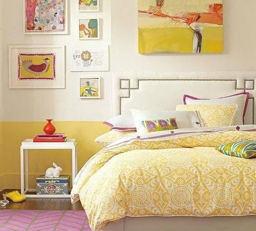 Yellow Orange Wall Bedroom Bedding Vintage Fun Retro Mod Unique