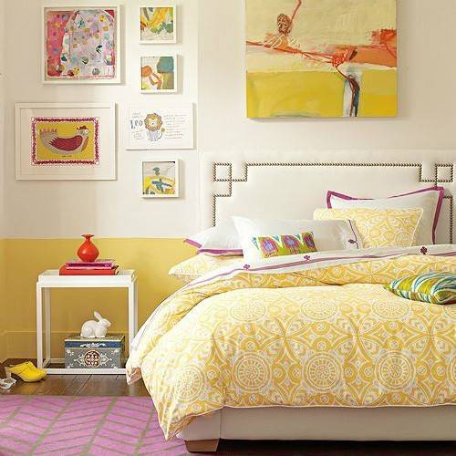 Yellow Orange Wall Bedroom Bedding Vintage Fun Retro Mod Unique