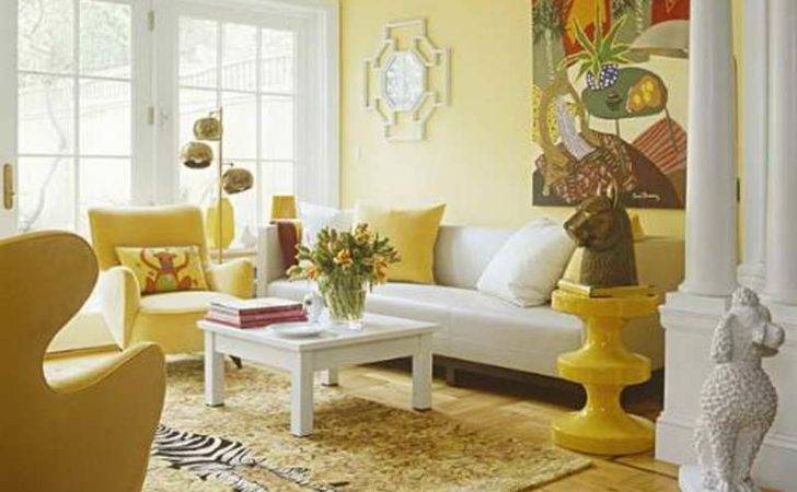 Yellow Paint Walls Living Room Bright Decoration