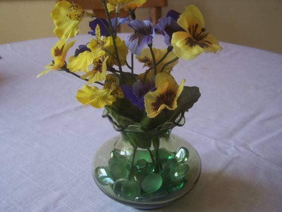 Yellow Purple Floral Arrangement Green Vase