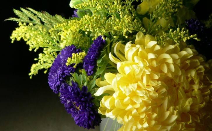 Yellow Purple Flower Arrangements Arrangement