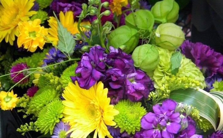 Yellow Purple Flower Arrangements Such