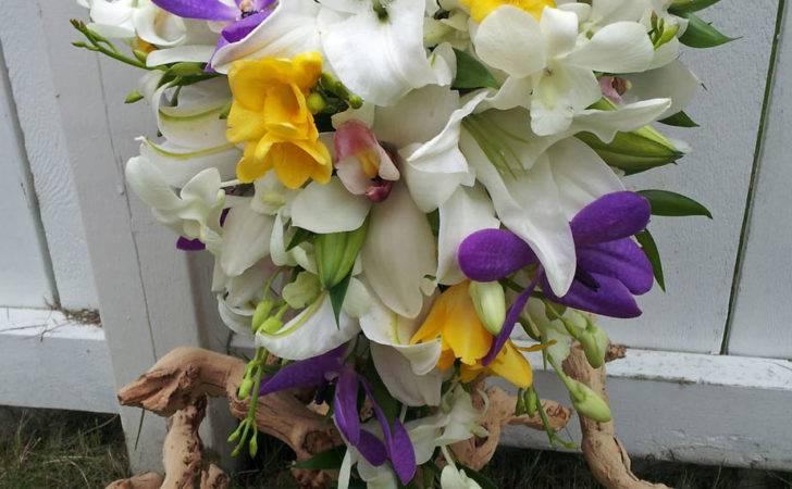 Yellow Purple Flower Arrangements White Cascade Weddig