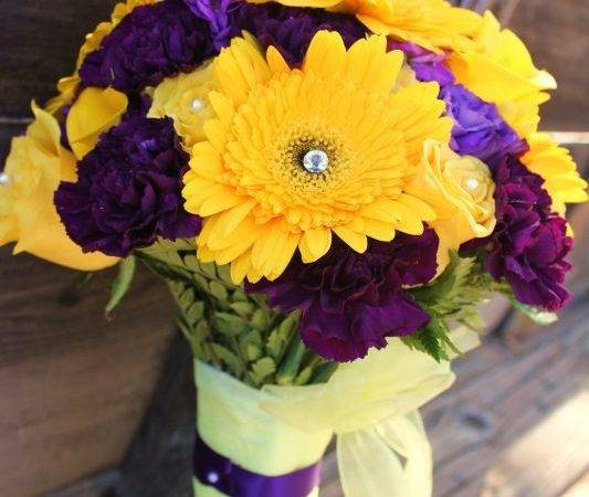 Yellow Purple Flowers Bouquet Bridal Turned Out Awesome