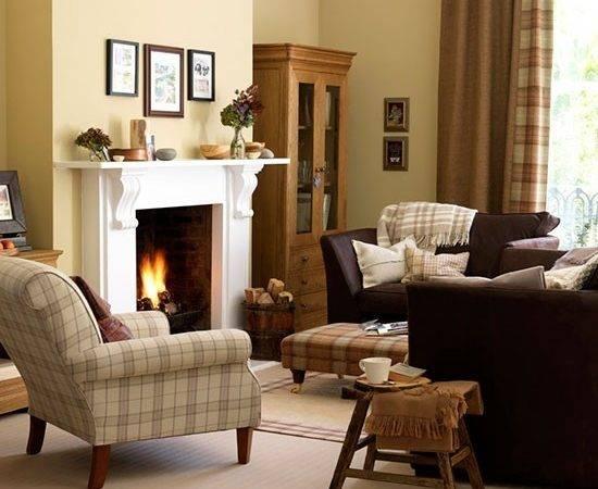 Yellow Traditional Living Room Tartan Upholstery Heritage