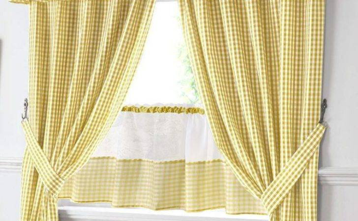 Yellow White Gingham Kitchen Curtains Pelmet
