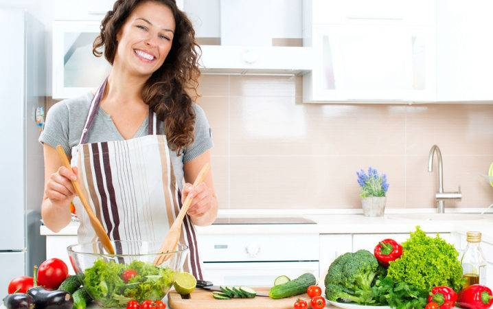 Young Woman Cooking Kitchen Healthy Food Vegetable Salad