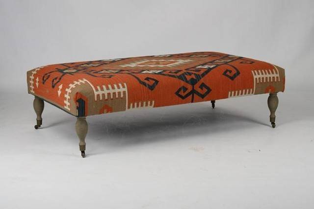 Zentique Kilim Ottoman Red Traditional Footstools Ottomans